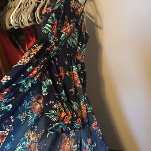 navy blue floral print romper.